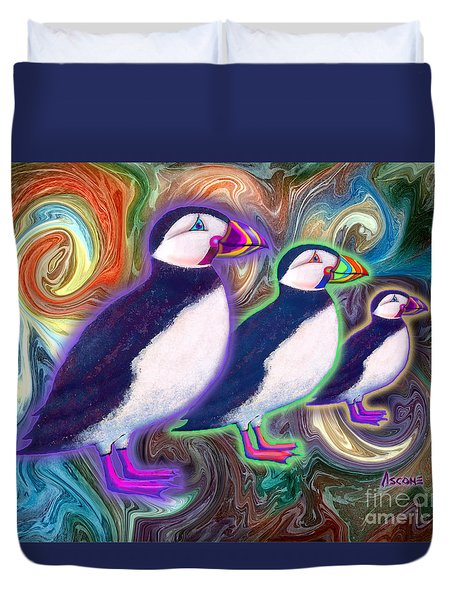 Purple Puffins Duvet Cover by Teresa Ascone