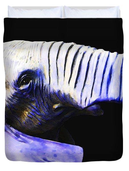 Purple Rein - Vibrant Elephant Head Shot Art Duvet Cover by Sharon Cummings
