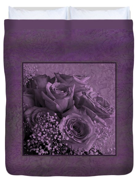 Duvet Cover featuring the photograph Purple Roses Delight by Sandra Foster