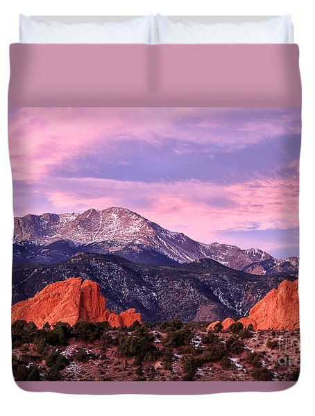 Purple Skies Over Pikes Peak Duvet Cover