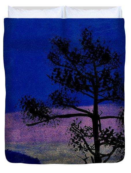 Duvet Cover featuring the drawing Purple Sunset Bay by D Hackett