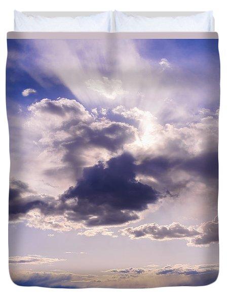 Purple Sunset On The Hudson River Duvet Cover