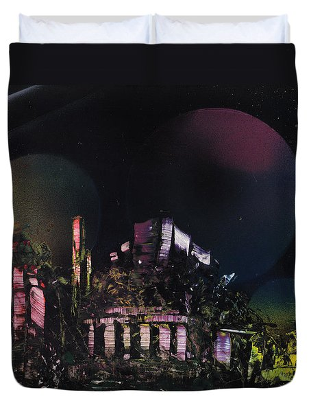 Purple Temple Duvet Cover by Mike Cicirelli
