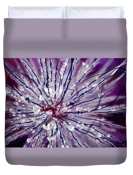 Purple Tentacles In Abstract Flower Shot Duvet Cover