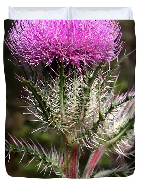 Purple Thistle  Duvet Cover