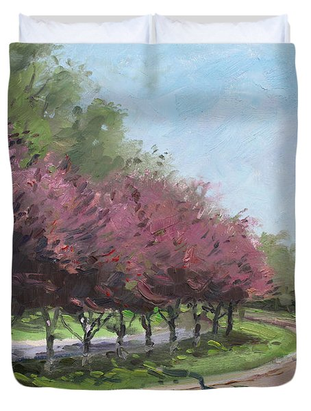 Purple Trees  Duvet Cover by Ylli Haruni