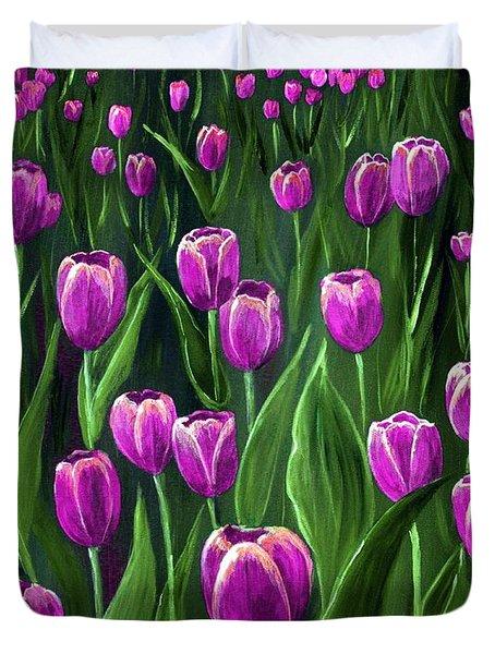 Purple Tulip Field Duvet Cover by Anastasiya Malakhova