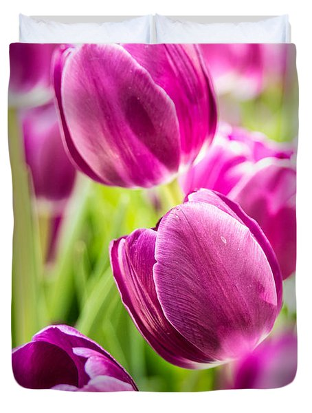 Purple Tulip Garden Duvet Cover