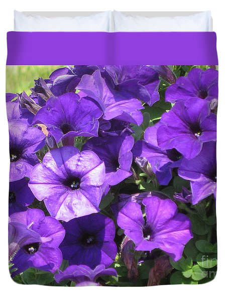Purple Wave Petunias Close Up Duvet Cover