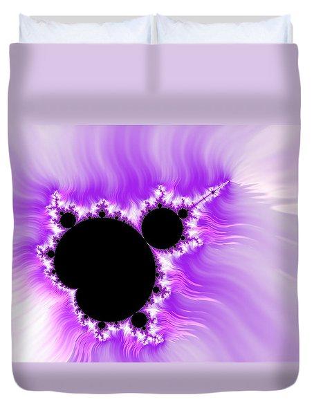 Purple White And Black Mandelbrot Set Digital Art Duvet Cover by Matthias Hauser