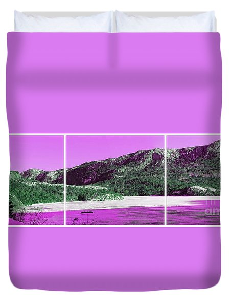 Purple Winter Triptych Duvet Cover by Barbara Griffin