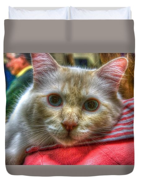 Duvet Cover featuring the photograph Purrfect Companion by Dennis Baswell