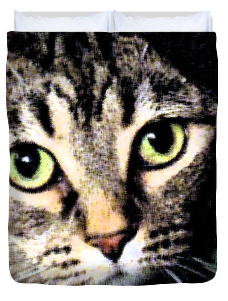 Duvet Cover featuring the photograph Purrfectly Bright Eyed by Nina Silver