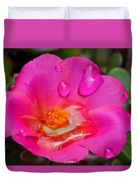 Purslane Flower In The Rain Duvet Cover by Sandi OReilly