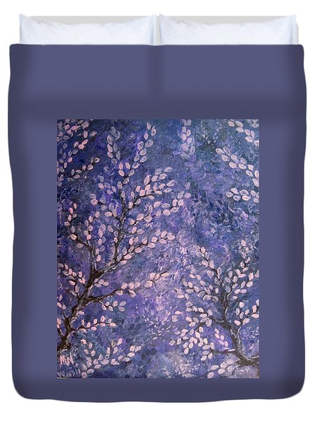 Duvet Cover featuring the painting Pussy Willow Blues by Megan Walsh