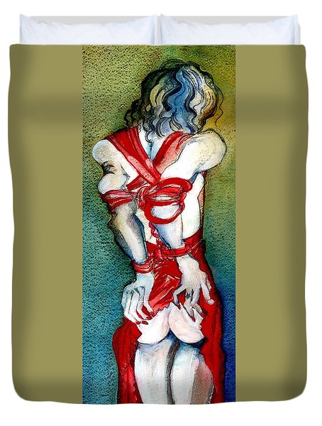 Duvet Cover featuring the painting Put On Your Red Dress Baby by Carolyn Weltman