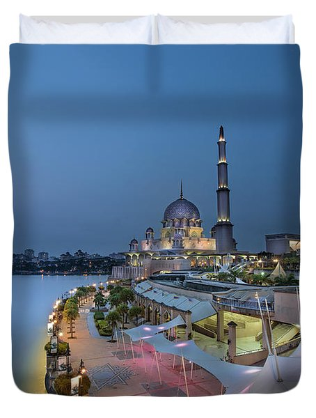 Putra Mosque At Blue Hour Duvet Cover by David Gn
