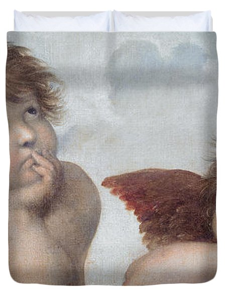 Putti Detail From The Sistine Madonna Duvet Cover by Raphael