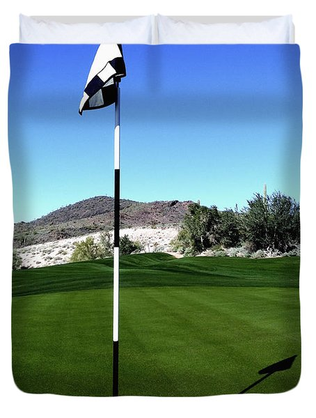 Putting Green And Flag On Golf Course Duvet Cover