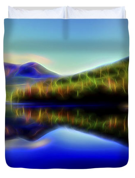 Duvet Cover featuring the digital art Pyramid Mirror 1 by William Horden