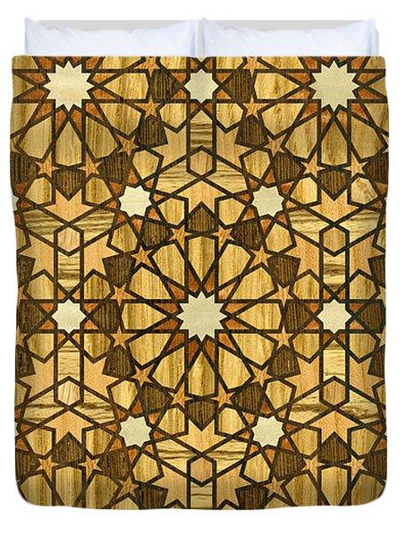 Qarawiyyin Mosque Geometric Pattern 1 Wood Duvet Cover by Hakon Soreide