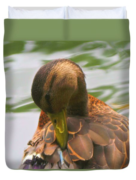 Mallard Duck In Central Park Duvet Cover