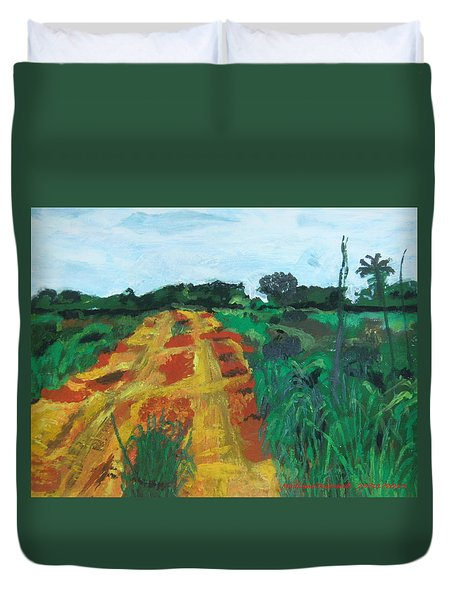 Duvet Cover featuring the painting Quagmire To My Village by Mudiama Kammoh