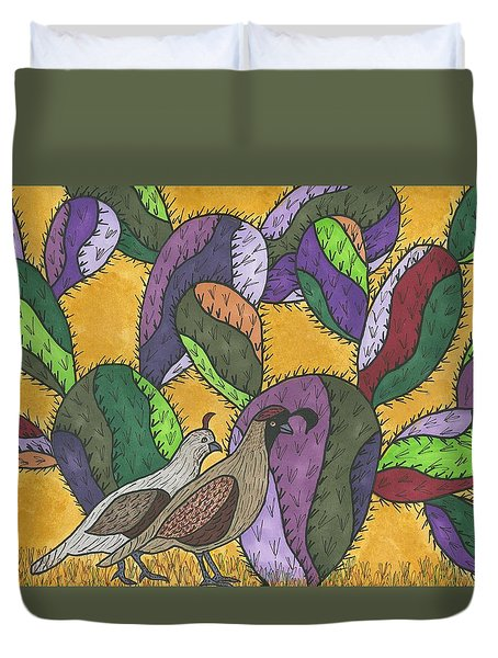 Quail And Prickly Pear Cactus Duvet Cover