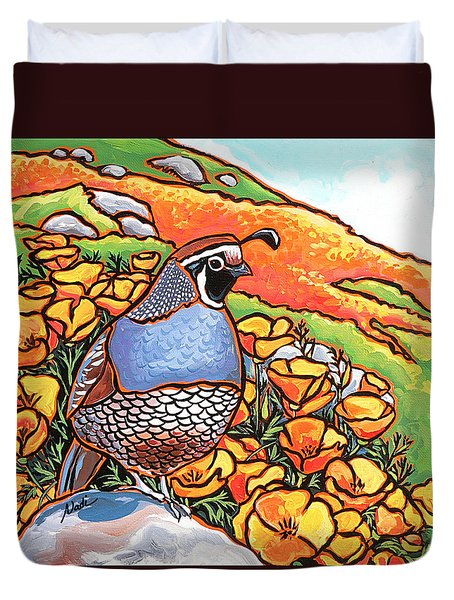 Quail Poppies Duvet Cover
