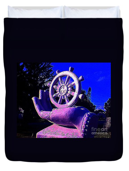 Duvet Cover featuring the photograph Buddhist Dharma Wheel 2 by Peter Gumaer Ogden