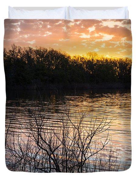 Quanah Parker Lake Sunrise Duvet Cover by Inge Johnsson