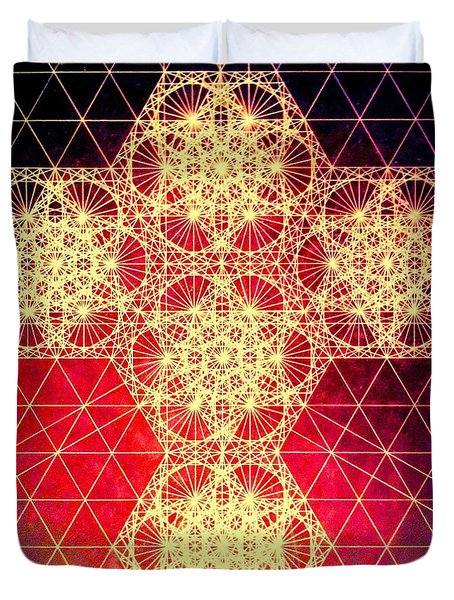 Quantum Cross Hand Drawn Duvet Cover by Jason Padgett