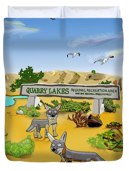 Quarry Lakes And Gray Foxes Duvet Cover