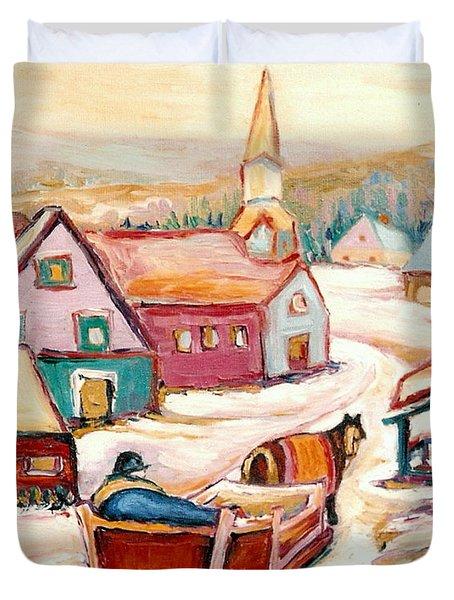 Quebec City Street Scene Caleche Ride In The Village Duvet Cover by Carole Spandau