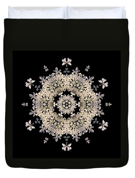 Queen Anne's Lace Flower Mandala Duvet Cover