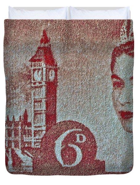 Queen Elizabeth II Big Ben Stamp Duvet Cover