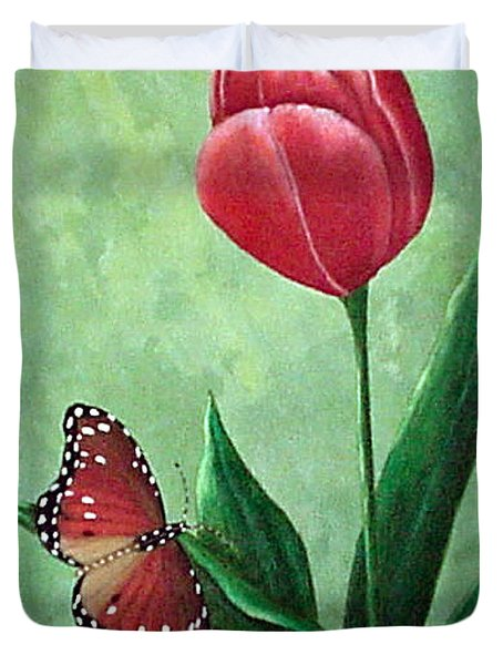 Queen Monarch And Red Tulip Duvet Cover