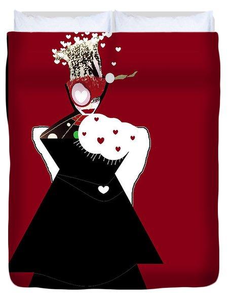 Duvet Cover featuring the digital art Queen Of Hearts by Ann Calvo