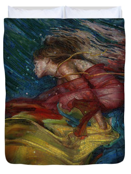 Duvet Cover featuring the painting Queen Of The Angels by Mia Tavonatti