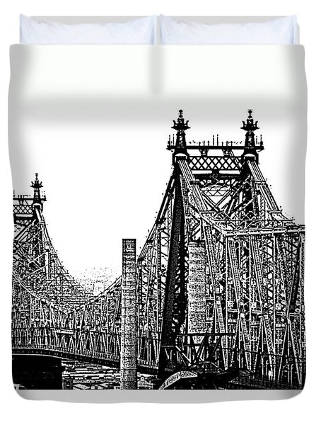 Queensborough Or 59th Street Bridge Duvet Cover by Steve Archbold