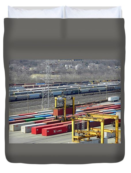 Queensgate Yard Cincinnati Ohio Duvet Cover by Kathy Barney