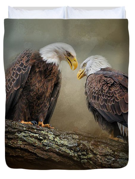 Quiet Conversation Duvet Cover by Jai Johnson