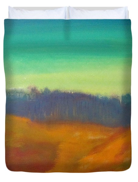 Duvet Cover featuring the painting Quiet by Keith Thue