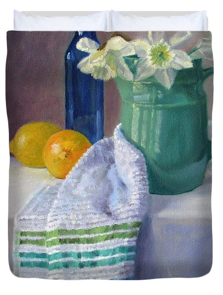 Quiet Moment- Daffodils In A Blue Green Pitcher With Lemons Duvet Cover
