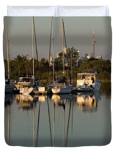 Quiet Summer Afternoon - Sailboats And Downtown Skyline Duvet Cover by Georgia Mizuleva