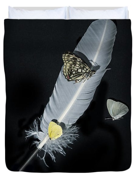 Quill With Butterflies Duvet Cover by Joana Kruse