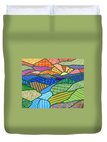 Quilted Appalachian Sunset Duvet Cover
