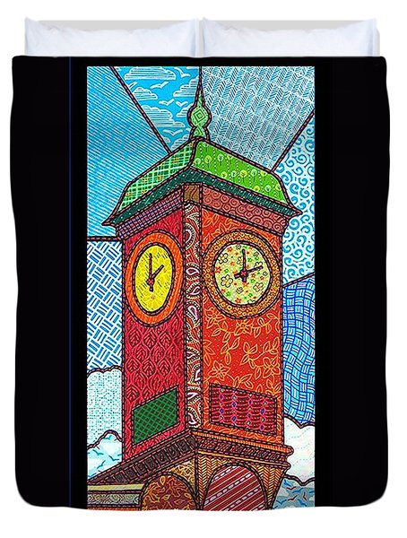 Quilted Clock Tower Duvet Cover by Jim Harris