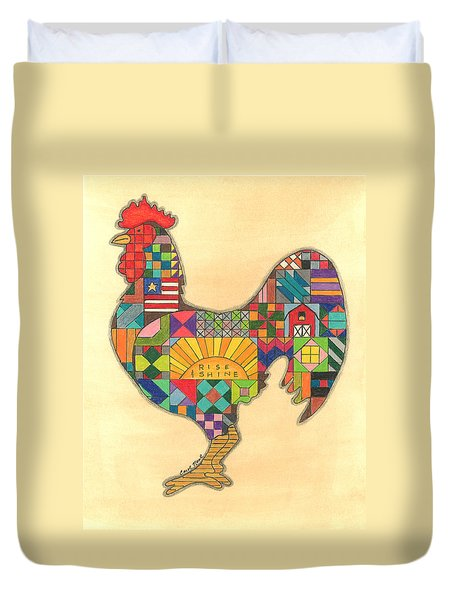 Quilted Rooster Duvet Cover