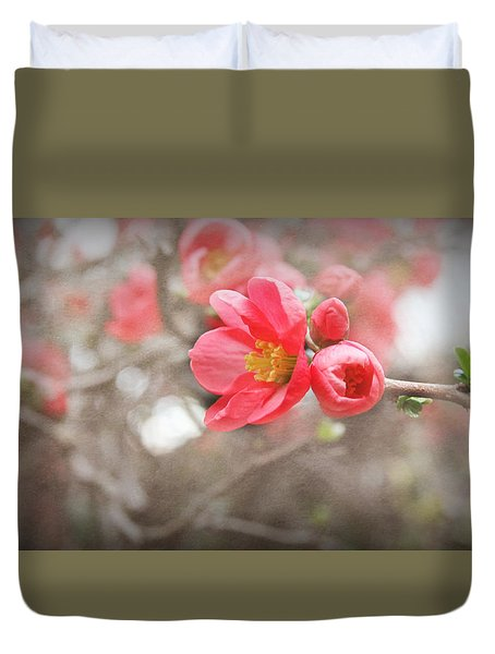 Duvet Cover featuring the photograph Quince Blossoms by Katie Wing Vigil